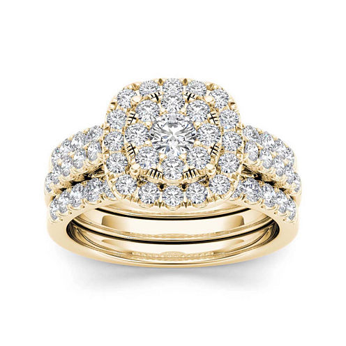 1 1/2 CT. T.W. Diamond 14K Yellow Gold Bridal Ring Set