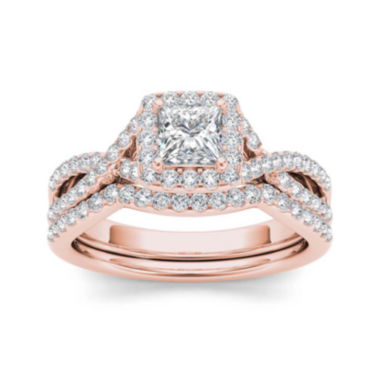 jcpenney.com | 1 1/4 CT. T.W. Diamond 14K Rose Gold Bridal Set