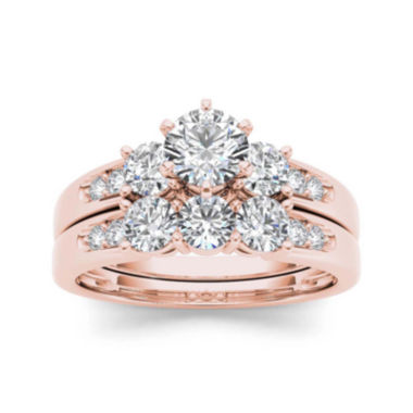 jcpenney.com | 1 1/2 CT. T.W. Diamond 3-Stone 14K Rose Gold Bridal Set