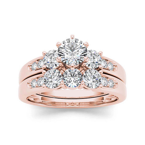 1 1/2 CT. T.W. Diamond 3-Stone 14K Rose Gold Bridal Set