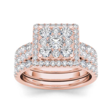 jcpenney.com | 2 CT. T.W. Diamond 10K Rose Gold Bridal Set