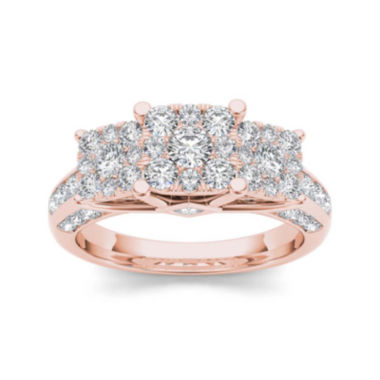 jcpenney.com | 1 1/2 CT. T.W. Diamond Cluster 10K Rose Gold Engagement Ring