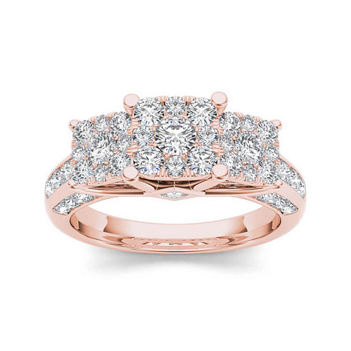 1 1/2 CT. T.W. Diamond Cluster 10K Rose Gold Engagement Ring