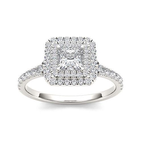 1 CT. T.W. Diamond 14K White Gold Framed Engagement Ring