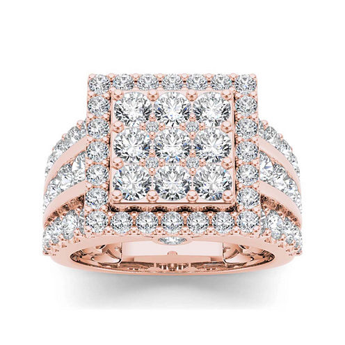 3 CT. T.W. Diamond 10K Rose Gold Engagement Ring