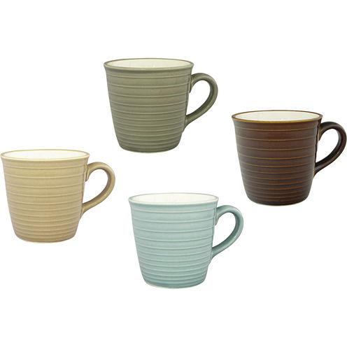 Sango Soho Collection Set of 4 Ceramic Assorted Mugs