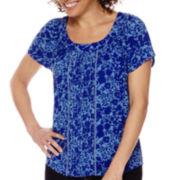 St. John's Bay® Short-Sleeve Woven Popover Top - Petite