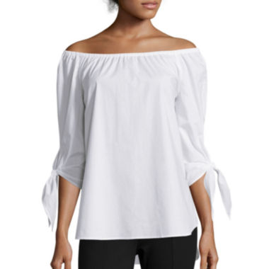 jcpenney.com | Stylus™ 3/4-Sleeve Off-the-Shoulder Tie-Sleeve Top - Tall