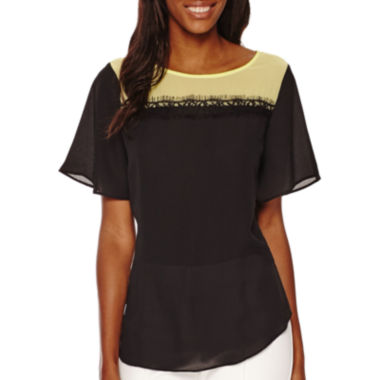 jcpenney.com | Worthington® Short-Sleeve Lace Colorblock T-Shirt - Tall