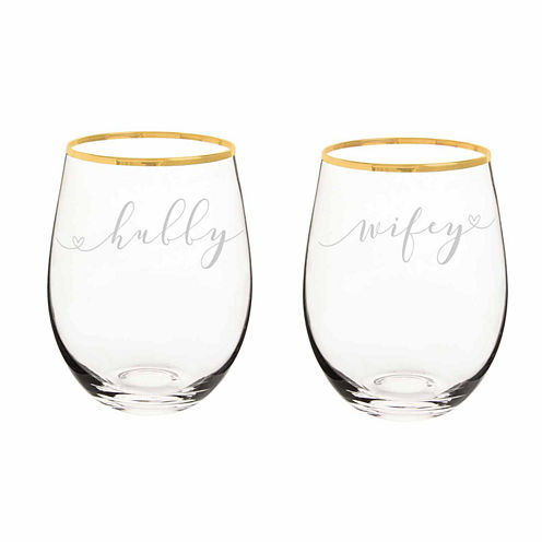 Cathy's Concepts Hubby And Wifey 2-pc. Wine Glass