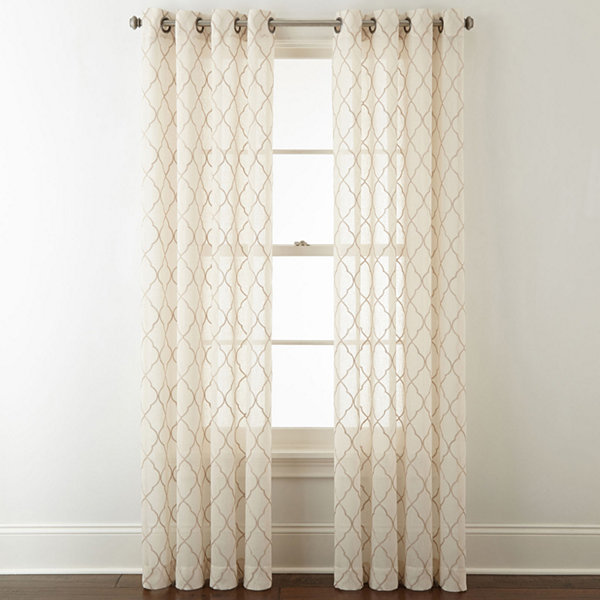 JCPenney Home Bayview Embroidery Sheer Grommet-Top Curtain Panel ...