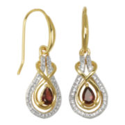 Classic Treasures™ Genuine Garnet and Diamond-Accent Swirl Earrings