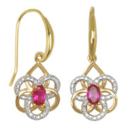 18K Gold Over Brass Lab-Created Ruby Flower Earrings