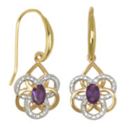 18K Gold-Plated African Amethyst Flower Earrings