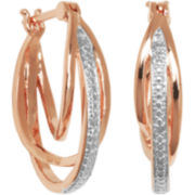 18K Rose Gold-Plated Triple Hoop Earrings