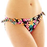 Arizona Floral Print Side-Tie Hipster Swim Bottoms - Juniors