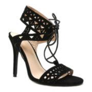 Qupid Ara 86 Black Cut-out High Heel Sandals