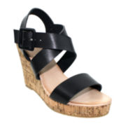 Olivia Miller Multi-Strap Cork Wedge Sandals