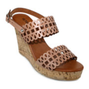 Olivia Miller Perforated Cork Wedge Sandals