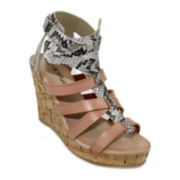 Olivia Miller Caged Two-Tone Wedge Sandals