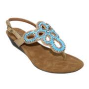 Olivia Miller Embellished Low Wedge Sandals