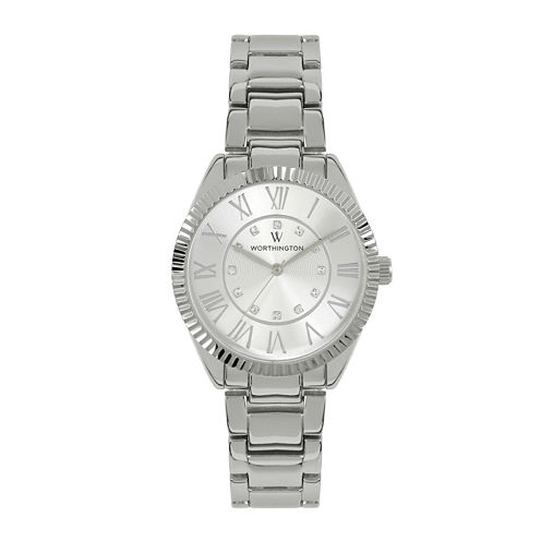 Worthington® Crystal Accent Womens Silver-Tone Bracelet Watch