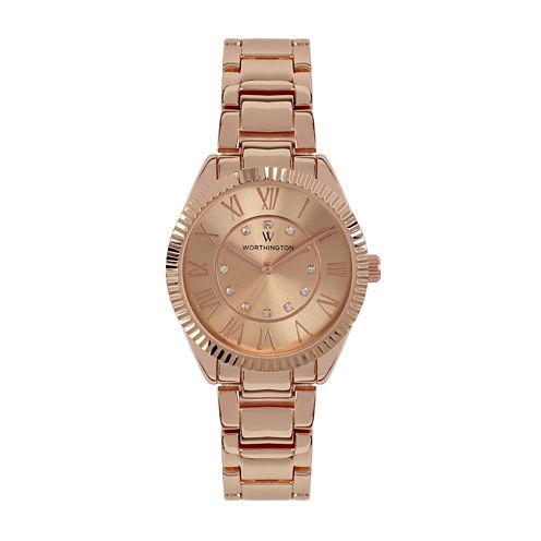 Worthington® Ladies Rose Gold Tone Bracelet Watches