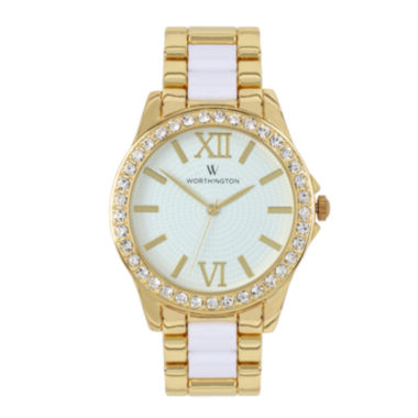 jcpenney.com | Worthington® Womens Crystal Accent Two-Tone Bracelet Watch