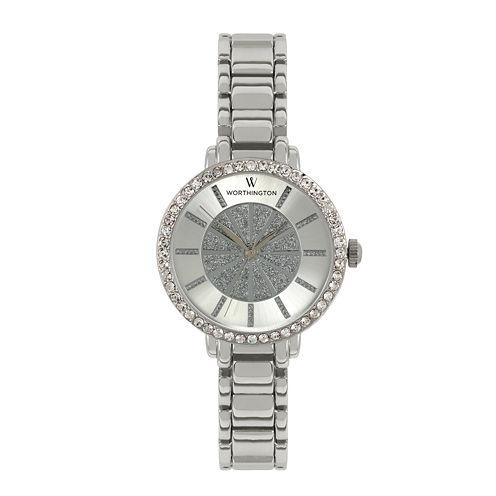 Worthington® Womens Silver-Tone Glitter Dial Bracelet Watch