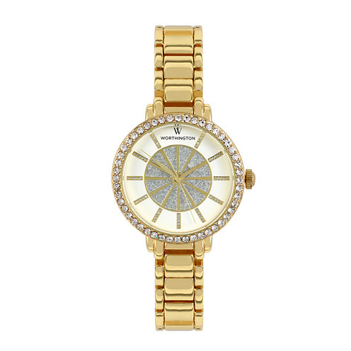 Worthington® Womens Gold-Tone Glitter Dial Bracelet Watch