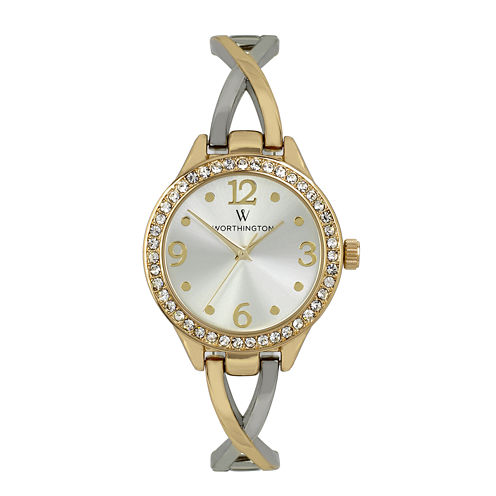Worthington® Womens Crystal Accent Two-Tone Bangle Watch