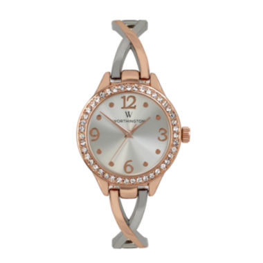 jcpenney.com | Worthington® Womens Crystal Accent Rose-Tone Bangle Watch