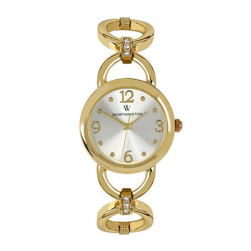 Worthington® Womens Gold-Tone Link Bracelet Watch