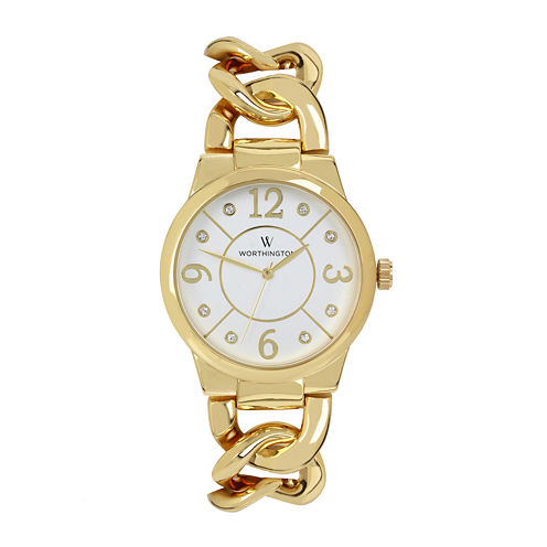 Worthington® Womens Crystal Accent Gold-Tone Bracelet Watch