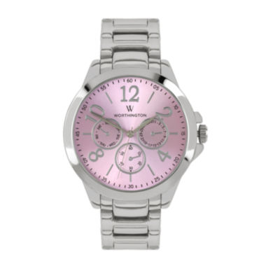 jcpenney.com | Worthington® Ladies Silvertone And Pink Bracelet Watches