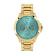 Worthington® Womens Gold-Tone & Aqua Bracelet Watch