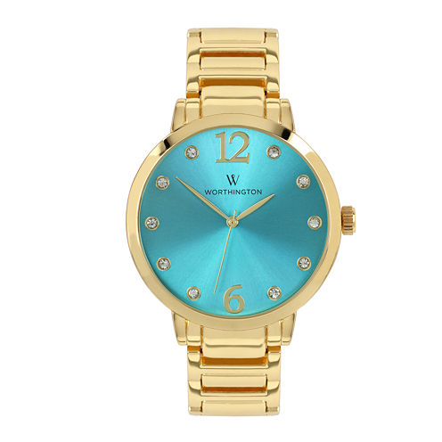 Worthington® Womens Gold-Tone & Aqua Bracelet Watch