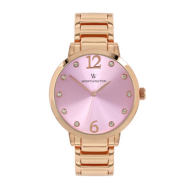 jcpenney.com | Worthington® Womens Rose-Tone & Pink Bracelet Watch