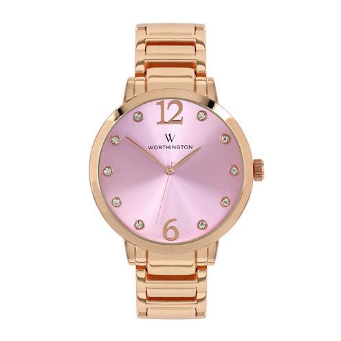 Worthington® Ladies Rose Gold Tone And Pink Bracelet Watches