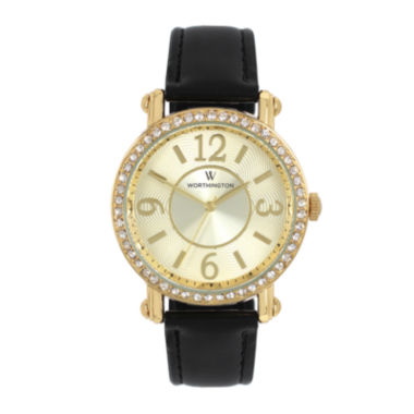 jcpenney.com | Worthington® Womens Black & Gold-Tone Strap Watch