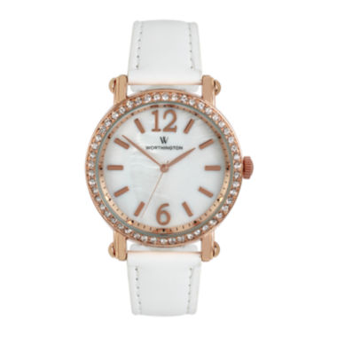 jcpenney.com | Worthington® Ladies White And Rose Gold Tone Strap Watches