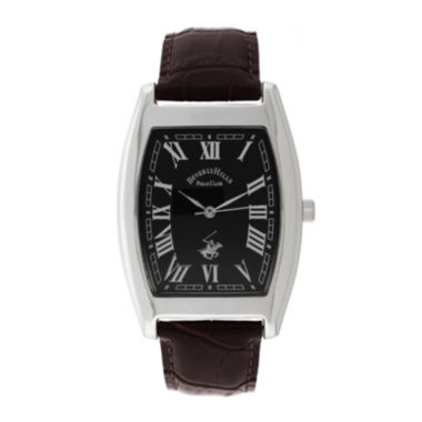 jcpenney.com | Beverly Hills Polo Club Mens Silver Tone Tank Strap Watches