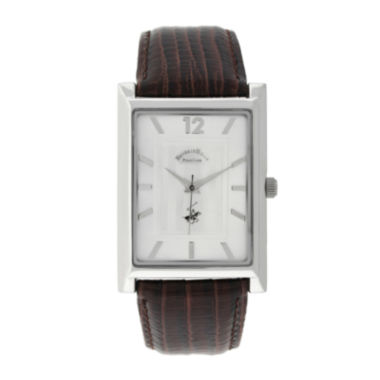 jcpenney.com | Beverly Hills Polo Club Mens Silver Tone Tank Brown Strap Watches