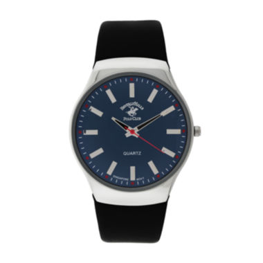 jcpenney.com | Beverly Hills Polo Club Mens Blue Dial Black Leather Strap Watch