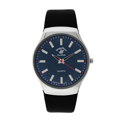 Beverly Hills Polo Club Mens Blue Dial Black Leather Strap Watch
