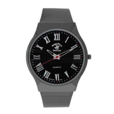 jcpenney.com | Beverly Hills Polo Club Mens Gunmetal Mesh Strap Watch