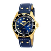 Invicta® Pro Diver Mens Brown & Blue Gold-Tone Over Stainless Steel Strap Watch