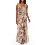Black Label by Evan-Picone Tiered Chiffon Maxi Dress