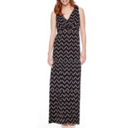 St. John's Bay® Sleeveless Chevron-Print Surplice Tier Peasant Maxi Dress