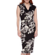 SL Fashions Cap-Sleeve Floral Midi Sheath Dress